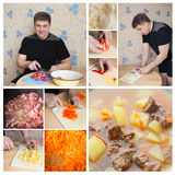Collage man cooking in kitchen Royalty Free Stock Photo