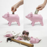 Collage of man saving money into piggybank for retirement Royalty Free Stock Photos