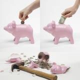 Collage of man saving money into piggybank for retirement Royalty Free Stock Photos
