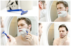 Collage of Man shaving. Stock Photo