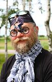 Collage, Man With A Bicycle, Nose Bike, Glasses On The Nose Stock Images