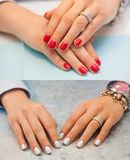 Collage of manicure. Female hands with red nails. The light blue and silver glitter design. Nail treatment. royalty free stock photography