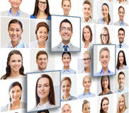 Collage with many business people portraits. Human resources, career management, recruitment and success concept - collage with many business people portraits stock photography