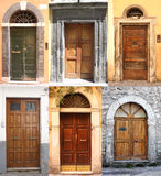 Collage with many different ancient doors Royalty Free Stock Photos