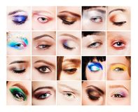 Collage of many different and beautiful female Royalty Free Stock Photography