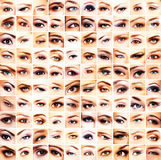 A collage of many different female eyes Royalty Free Stock Images