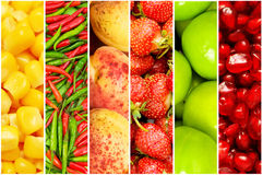 Collage of many different fruits. And vegetables Royalty Free Stock Photography