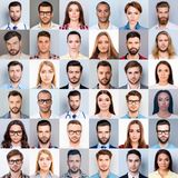 Collage of many diverse, multi-ethnic people`s close up heads, beautiful, attractive, handsome, pretty expressing concentrated, t. Houghtful, dreamy emotions royalty free stock photos