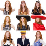 Collage of many faces from same model Royalty Free Stock Images