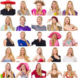 Collage of many faces from same model Stock Photos
