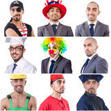 Collage of many faces from same model Royalty Free Stock Photo