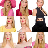 Collage of many faces from same model. The collage of many faces from same model Stock Image