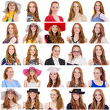 Collage of many faces from same model Stock Photo