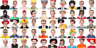 Collage of many faces from same model Royalty Free Stock Photography