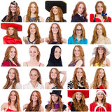 Collage of many faces from same model. The collage of many faces from same model Royalty Free Stock Photography