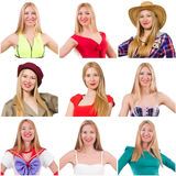 Collage of many faces from same model Stock Photography