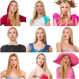 Collage of many faces from same model Stock Image