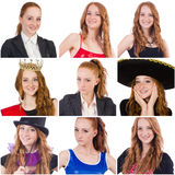 Collage of many faces from same model. The collage of many faces from same model Stock Photos