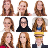 The collage of many faces from same model Royalty Free Stock Photo