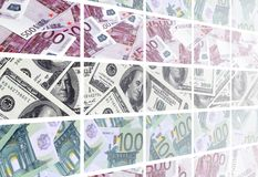 A collage of many images of euro banknotes in denominations of 1. 00 and 500 euros lying in the heap stock illustration