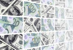 A collage of many images of euro banknotes in denominations of 1. 00 and 500 euros lying in the heap vector illustration