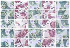 A collage of many images of hundreds of dollars and euro bills l stock photography