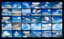 Collage of many images of sky with clouds royalty free stock photos