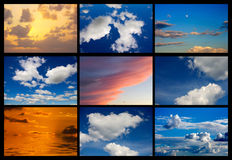 Collage of many images of sky with clouds Royalty Free Stock Photography