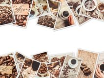 Collage many pictures of coffee. Royalty Free Stock Photo