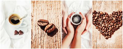 Collage many pictures of coffee. . Collage many pictures of coffee. Selective focus Stock Photo