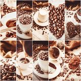 Collage many pictures of coffee. . Collage many pictures of coffee. Selective focus Royalty Free Stock Images