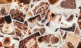 Collage many pictures of coffee. . Collage many pictures of coffee. Selective focus Royalty Free Stock Photography