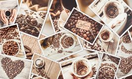 Collage many pictures of coffee. royalty free stock images