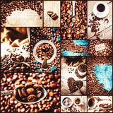 Collage many pictures of coffee. . Collage many pictures of coffee. Selective focus Royalty Free Stock Photos