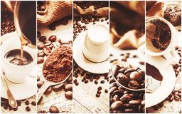 Collage many pictures of coffee. . Collage many pictures of coffee. Selective focus Royalty Free Stock Image