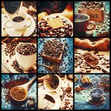 Collage many pictures of coffee. Selective focus Stock Photos