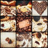 Collage many pictures of coffee. Selective focus Stock Photography