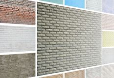 A collage of many pictures with fragments of brick walls of diff royalty free stock photos
