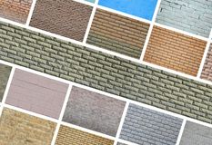 A collage of many pictures with fragments of brick walls of diff royalty free stock photography
