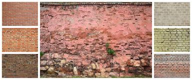 A collage of many pictures with fragments of brick walls of diff royalty free stock images