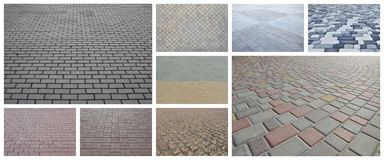 A collage of many pictures with fragments of paving tiles close royalty free illustration