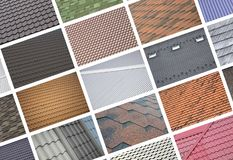 A collage of many pictures with fragments of various types of roofing close up. A set of images with roof coating textures vector illustration