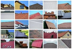 A collage of many pictures with fragments of various types of roofing. Set of images with roofs stock photo