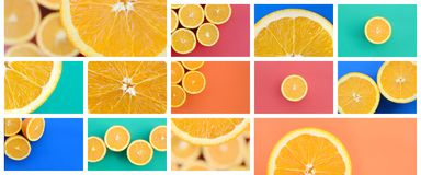 A collage of many pictures with juicy oranges. Set of images wit stock photos