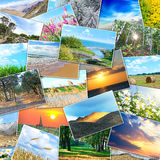 Collage of many pictures lying in a heap Stock Image