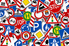 Collage of many road sign illustration Royalty Free Stock Photography