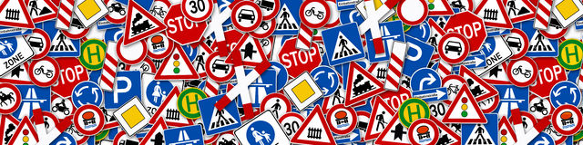 Collage of many road sign illustration Royalty Free Stock Image