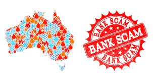 Collage Map of Australia of Flame and Snowflakes and Bank Scam Scratched Seal stock illustration