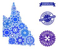 Collage Map of Australian Queensland with Cogs and Grunge Seals for Service royalty free illustration