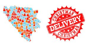 Collage Map of Bosnia and Herzegovina of Fire and Snowflakes and Christmas Delivery Scratched Seal vector illustration